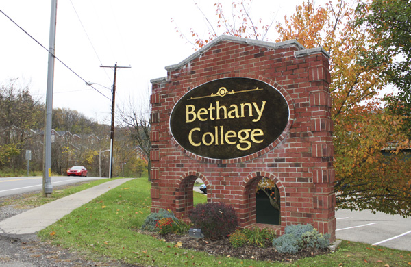 A Sign for Bethany College in Bethany, West Virginia.