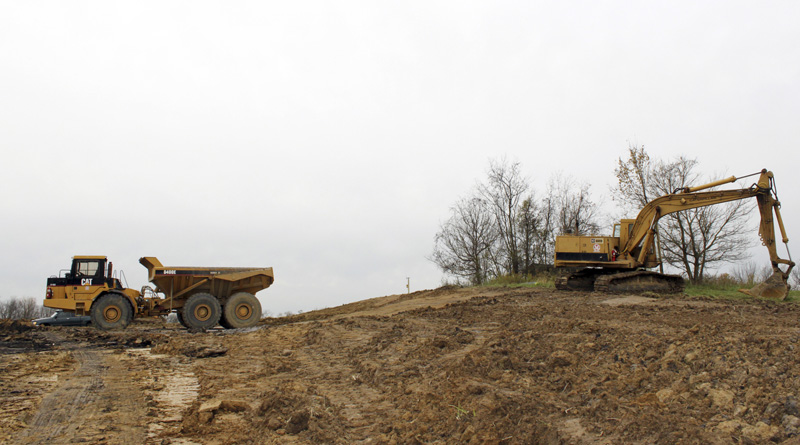 Land near Bethany College's campus being clear for a well pad site.