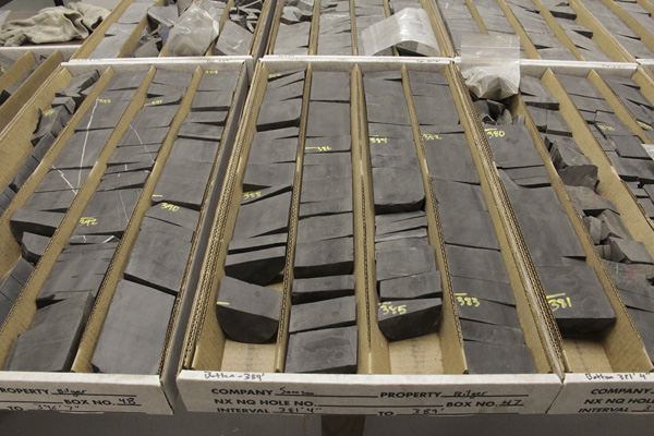 A selection of Penn State University's extracted Marcellus shale cores.