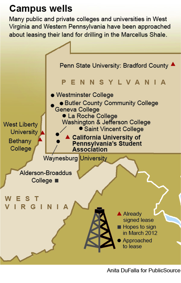 A graphic map illustrating locations of campuses considering or committed to drilling leases in Pennsylvania and West Virginia.