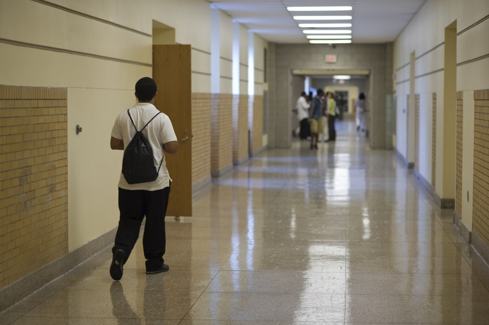 Zach Milton, a ninth-grader at Westinghouse, headed to class last fall. (Photo by Martha Rial)