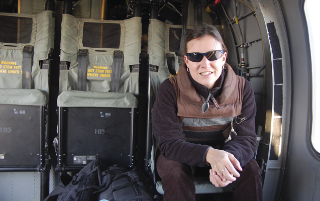 Jackie Spinner on a plane in Iraq in 2011.