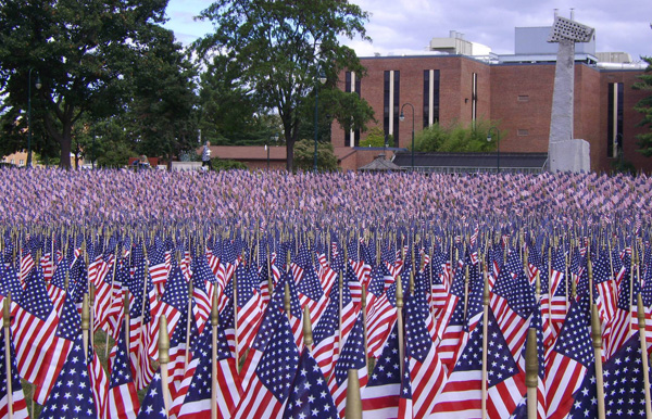 5000 flags commemorating fallen heroes of the War on Terror in Shippensburg University in 2010.