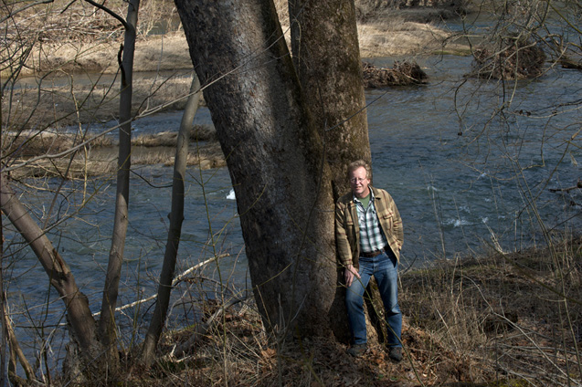 Sandy Liebhold on the banks of Dunkard Creek in Greene County, Pa.