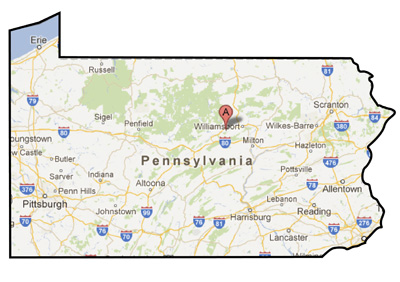 A map of Pennsylvania showing the location of Jersey Shore, PA.