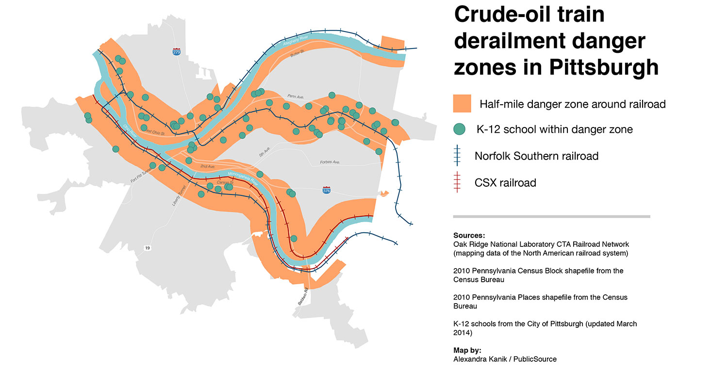 Pittsburgh derailment hazard zone map
