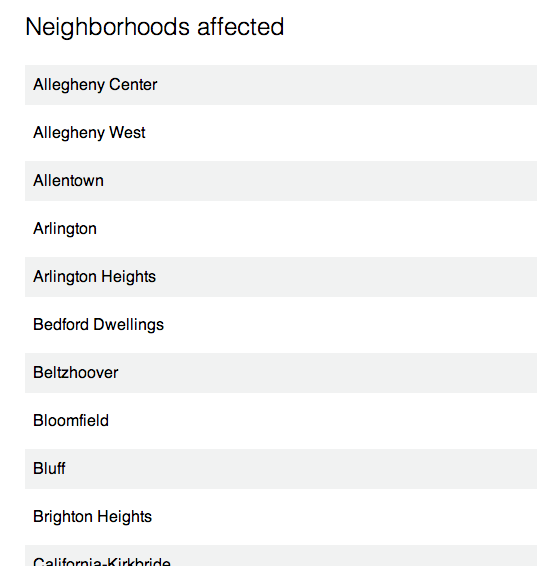 Click here to view Pittsburgh neighborhoods in derailment danger zone