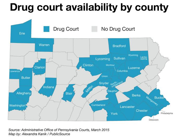 PA drug courts map