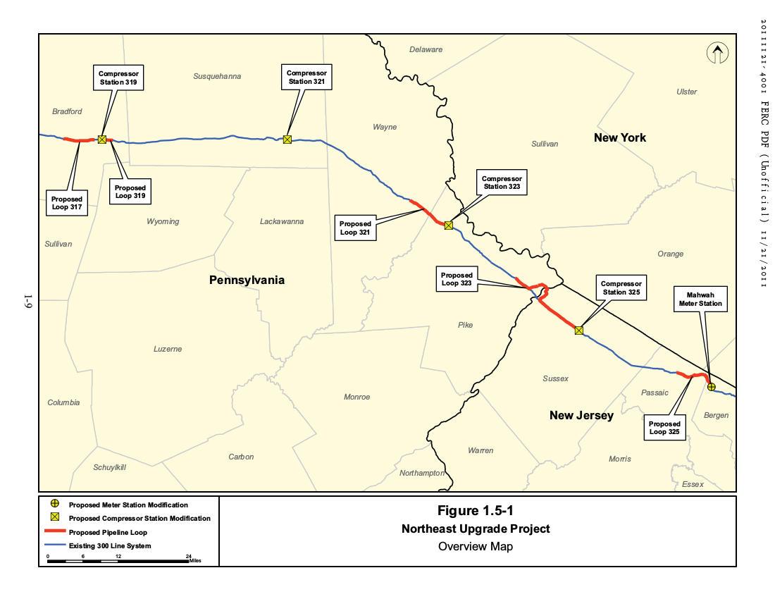 Northeast pipeline upgrade map