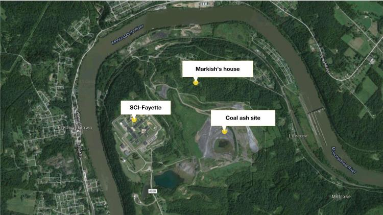 map view of the prison, Markish's house and the coal ash dump