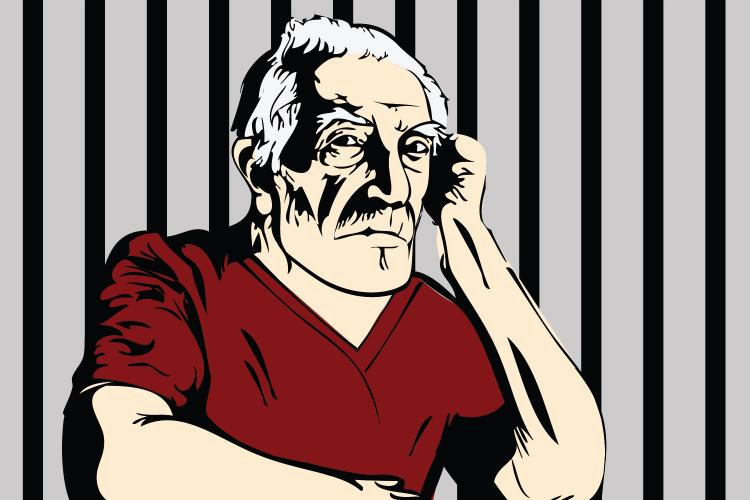 illstration of old man in jail by Michelle Garrett