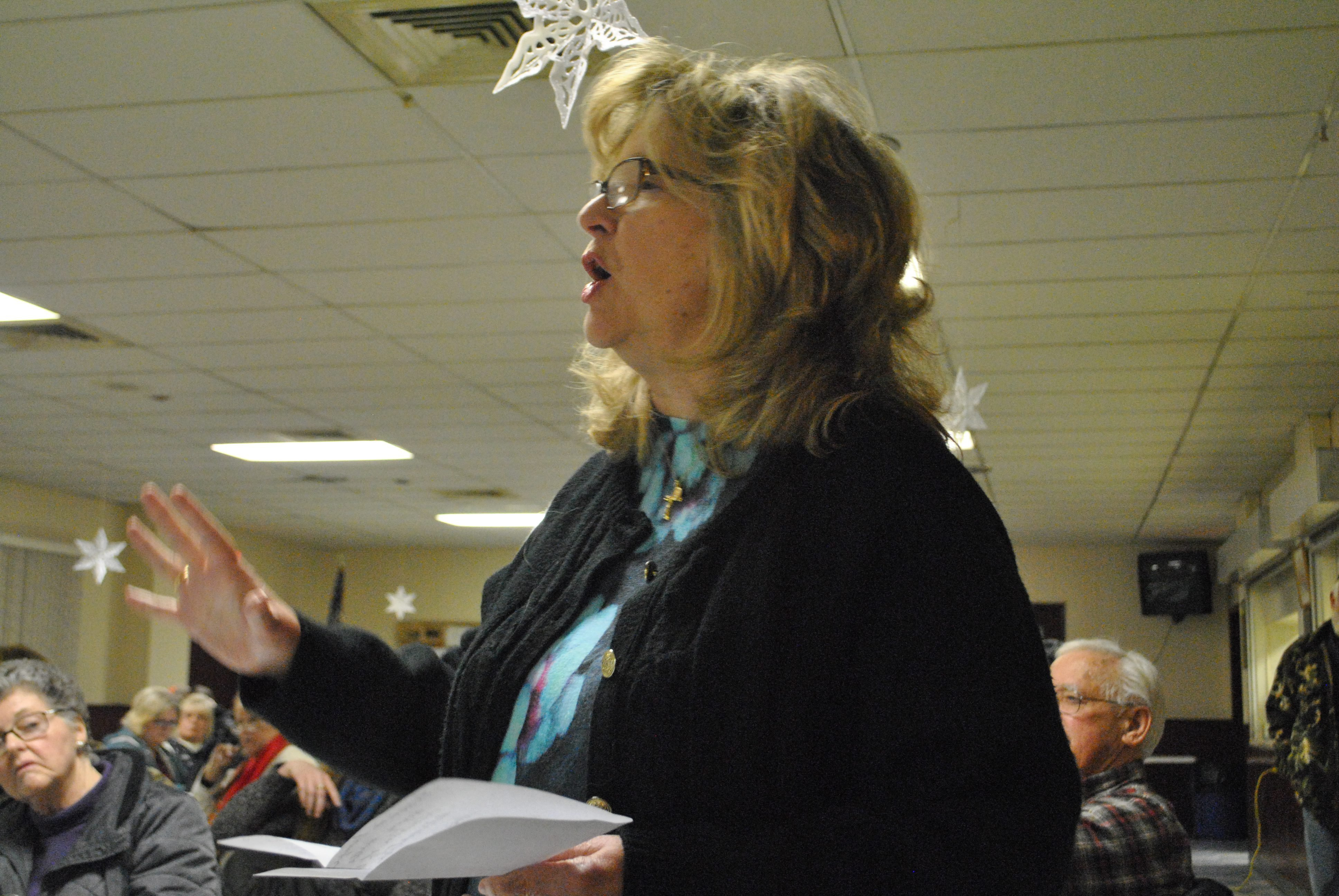 Dr. Annette V·zquez of Eldred Township adresses a question to a Delaware River Basin Commission representative during a Q&A Jan. 20 about the Nestlé plan to extract water for its Deer Park bottled water brand. (Pocono Record file photo)