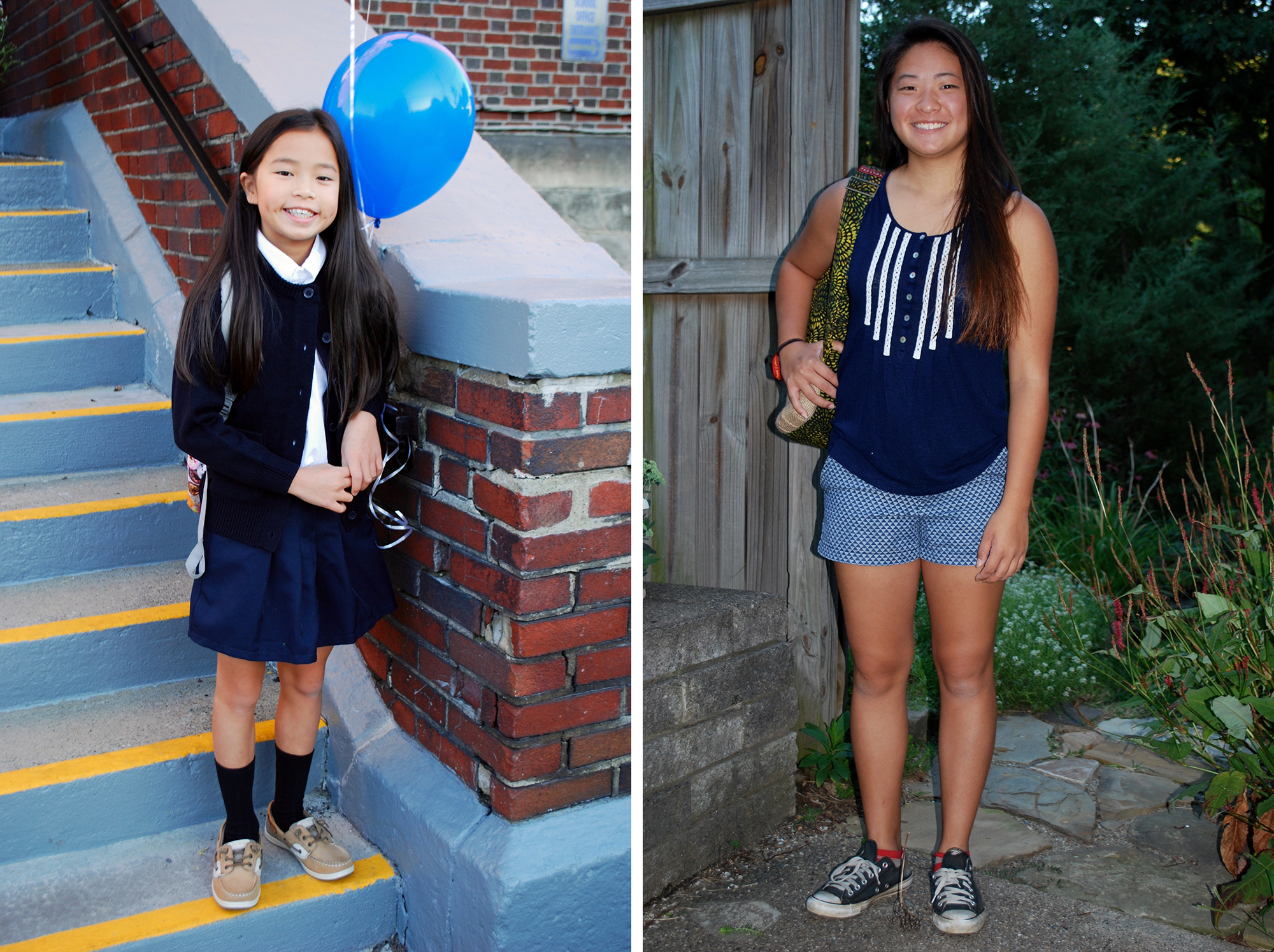 The Gallick girls pictured on their first days of school this August. Libby Gallick (left), 9, entered 4th grade at Assumption School in August. Zofia Gallick, 14, started high school this year at Northgate. (Photos courtesy Theresa Gallick)