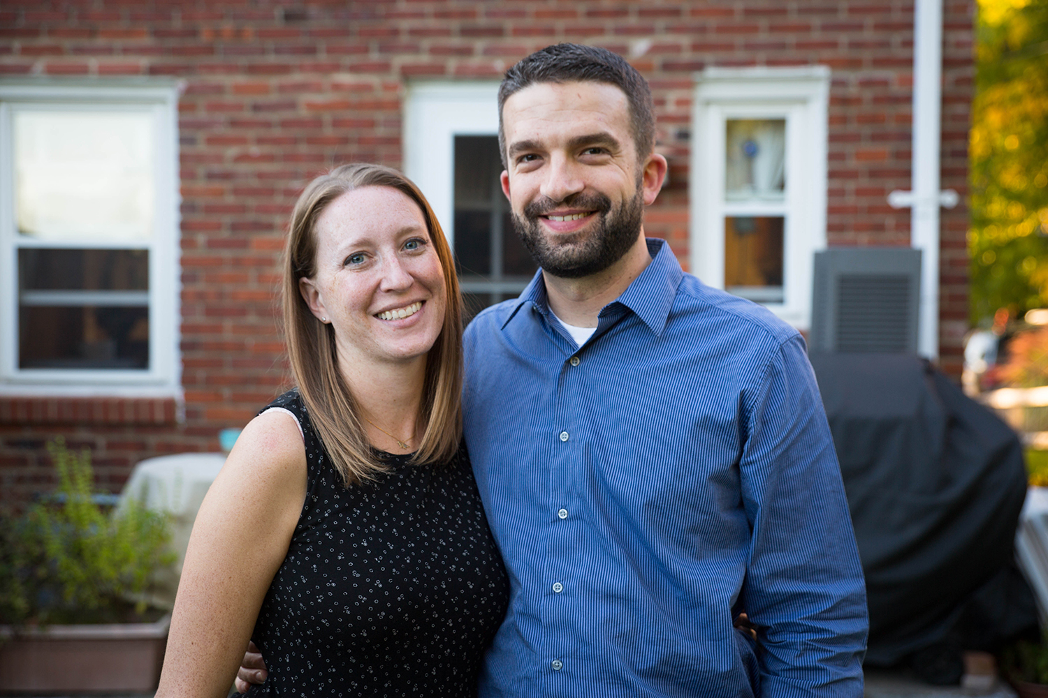 Jessica Varone, pictured here with her husband Dave Matlin, is president of the Stanton Heights Neighborhood Association and a program specialist at the VA Pittsburgh Healthcare System. Matlin is a senior project engineer at the Port Authority of Allegheny County. (Photo by Njaimeh Njie/PublicSource)