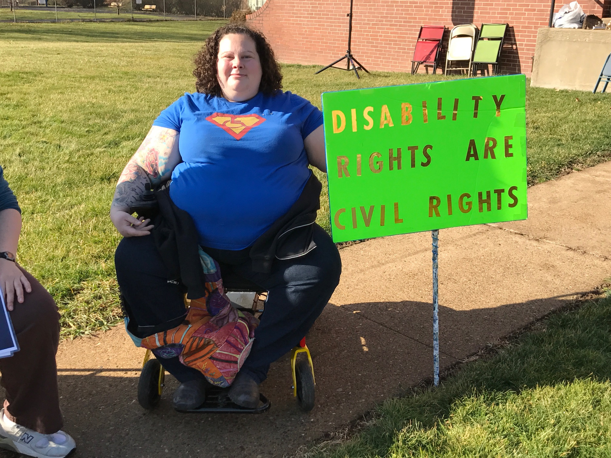 "Alisa Grisham from Uptown said, ""Disability rights are civil rights... too often unrepresented in feminist dialogue."" (Photo by Maranie Staab for PublicSource)"
