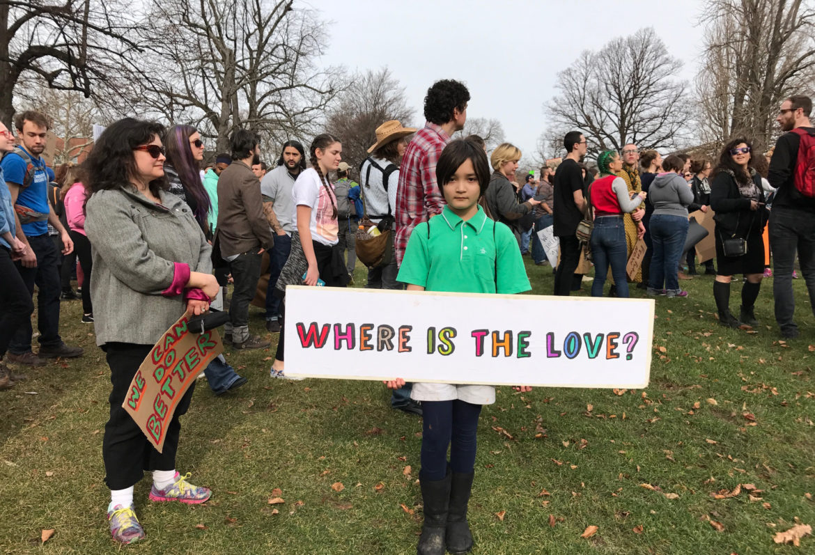 "Beatrice Alba, 10, of Point Breeze: ""I am here because I don't agree with the current president and because I want to stand up for people not being treated fairly."" (Photo by Maranie Staab for PublicSource)"