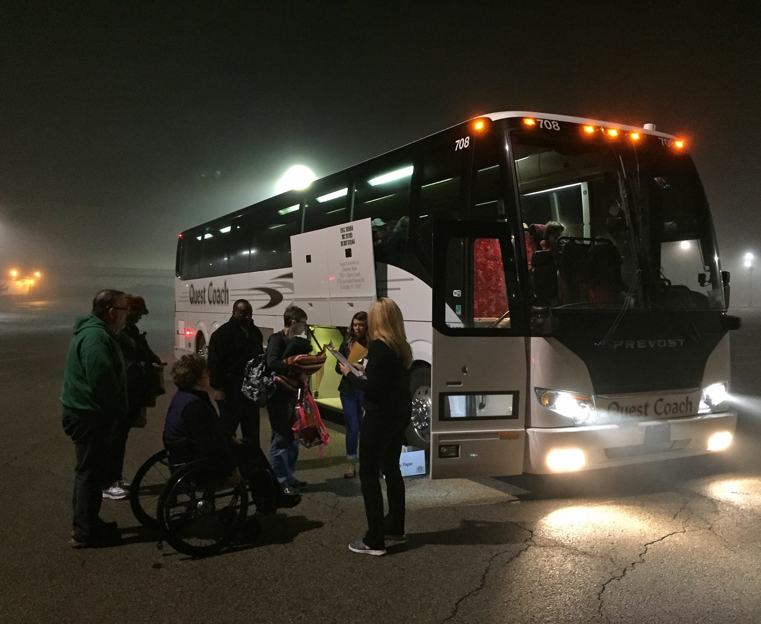 At 3:15 a.m. this morning a bus left from a location near Monroeville Mall and headed to Washington, D.C. for the Women's March on Washington. (Photo by Martha Rial for PublicSource)