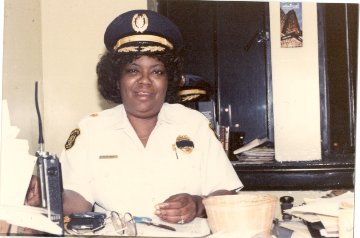 Commander Gwendolyn Elliott pictured at her desk. Elliott was the first black woman to serve as a commander on the Pittsburgh police force. (Photo courtesy of Kathi Elliott)