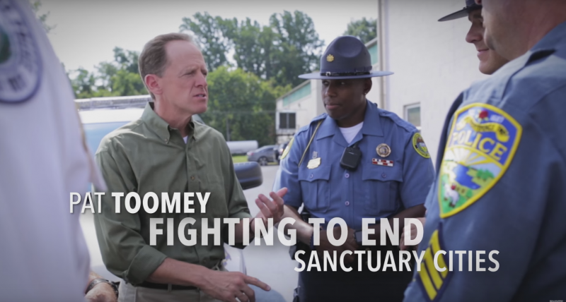Screenshot of campaign ad for Sen. Pat Toomey.
