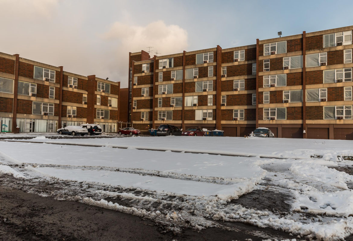The Penn Plaza apartment complex in East Liberty before it was demolished. (Photo by Maranie Rae Staab/PublicSource)
