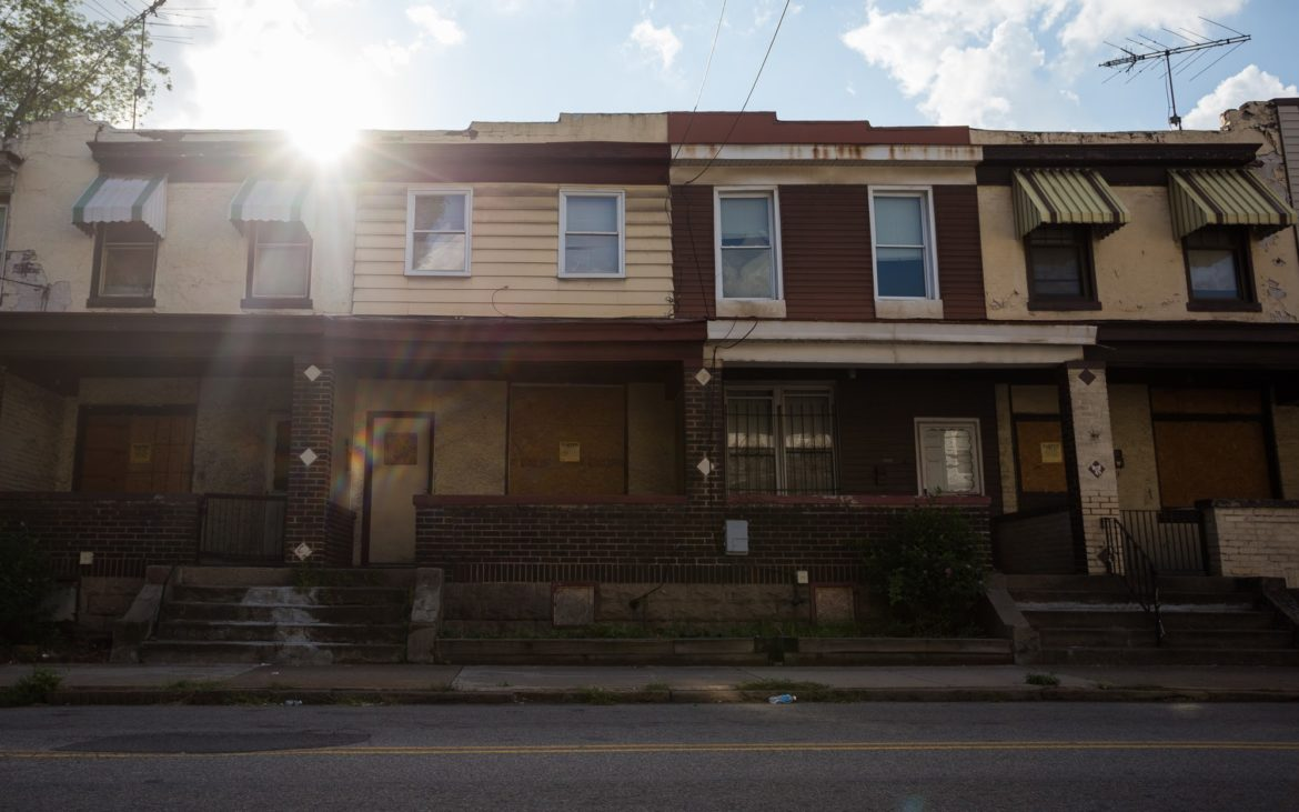 Houses owned by Oakland Gateway Ventures on Bates Street are the subject of a hotly contested conservatorship petition. (Photo by John Hamilton/PublicSource)