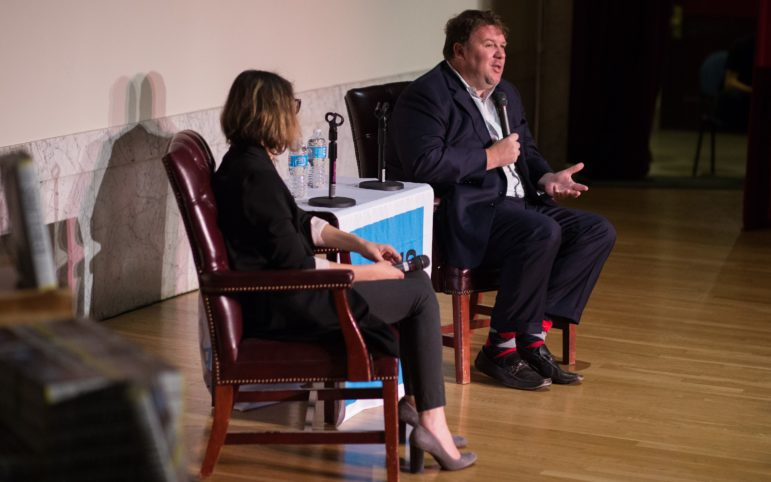 Allen answers an audience member's question about Hillary Clinton's campaign. (Photo by John Hamilton/PublicSource)