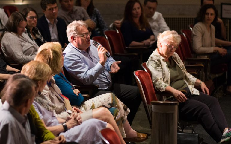 An audience member asks Allen about Hillary Clinton's campaign. (Photo by John Hamilton/PublicSource)