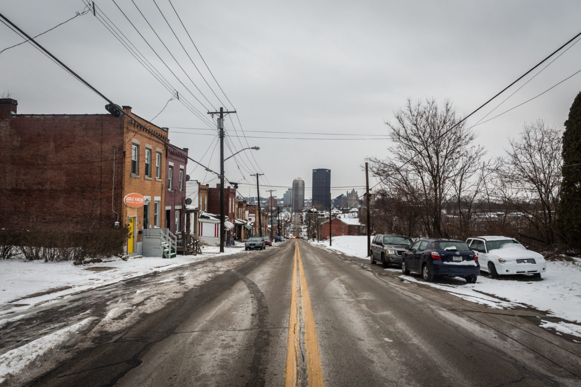 Downtown Pittsburgh is seen from Webster Avenue in the Hill District. (Photo by Maranie Rae Staab/PublicSource)