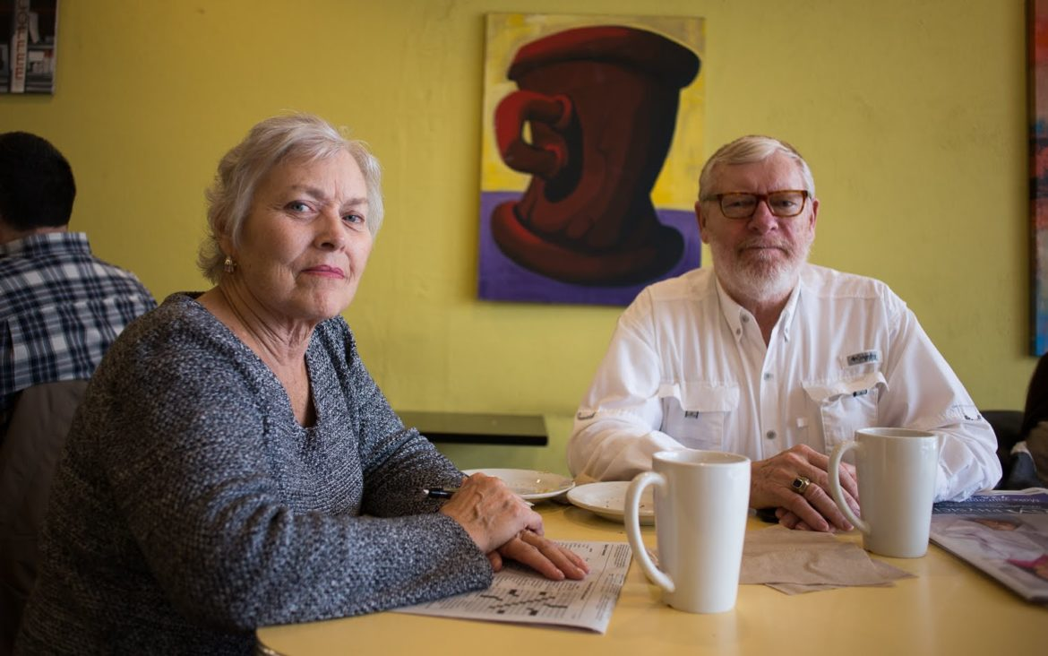 Janet and Dennis McCarthy, pictured at a Uptown Coffee in Mt. Lebanon, are likely Lamb voters concerned with issues like partisanship and gerrymandering. (Photo by John Hamilton/PublicSource)