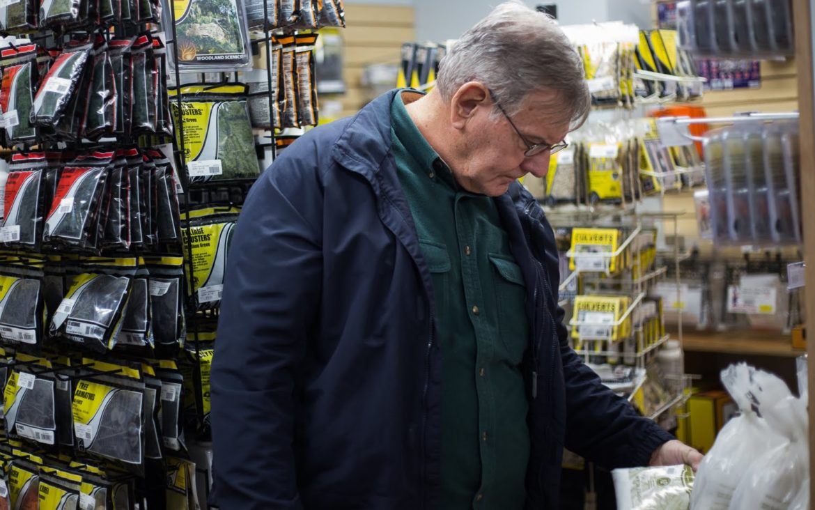 Jim Archbold shops at Brady's Train Outlet outside of Greensburg. (Photo by John Hamilton/PublicSource)
