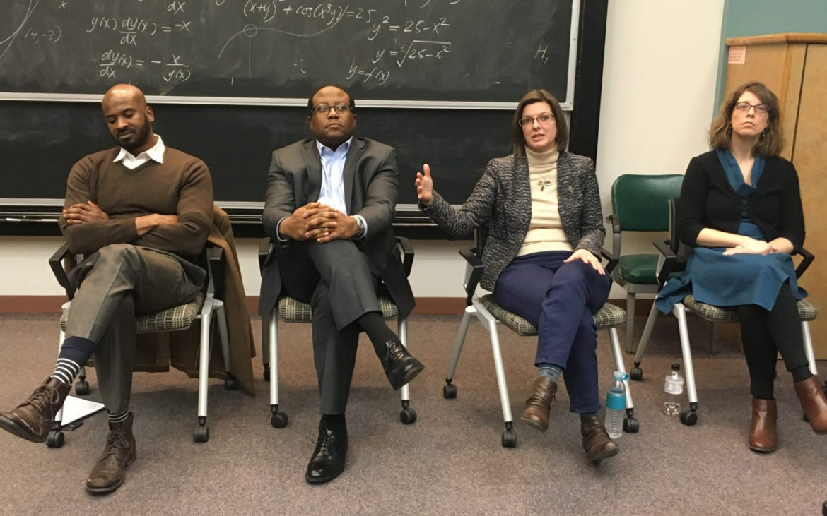 Panelists at a Wednesday forum regarding Amazon HQ2: (left to right) Waverly Duck, director of the University of Pittsburgh's Urban Studies Program; William Generett, Jr., Duquesne University's vice president for community engagement; Rebecca Bagley, vice chancellor for economic partnerships at the University of Pittsburgh; Beth Shaaban, a Ph.D. student at the University of Pittsburgh's School of Public Health and an organizer with the Graduate Student Organizing Committee; and Jason Beery, (not pictured) a policy analyst at UrbanKind Institute. (Photo by Juliette Rihl/PublicSource)