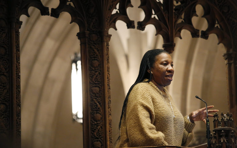 Tarana Burke, founder of the #MeToo movement, speaks at Calvary Episcopal Church in Shadyside on Feb. 6, 2018. (Photo by Ryan Loew/PublicSource)