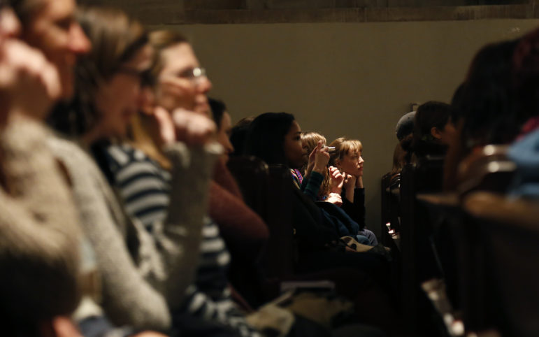 Audience members listen to Tarana Burke, founder of the #MeToo movement, as she speaks at Calvary Episcopal Church in Shadyside on Feb. 6, 2018. (Photo by Ryan Loew/PublicSource)