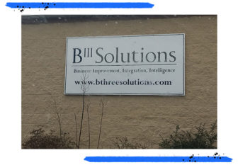 The offices of B-Three Solutions in Plum Borough. (Photo by Matt Stroud/PublicSource)