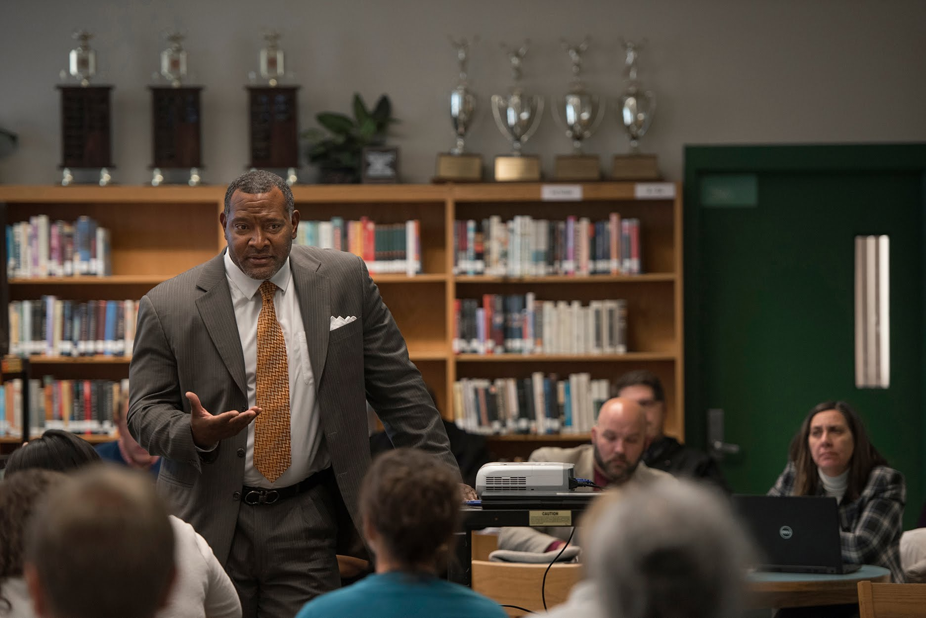 Superintendent Dr Anthony Hamlet pledges his support after listening to teachers at a teacher feedback session at Taylor Allderdice High School. (Photo by Martha Rial/PublicSource)