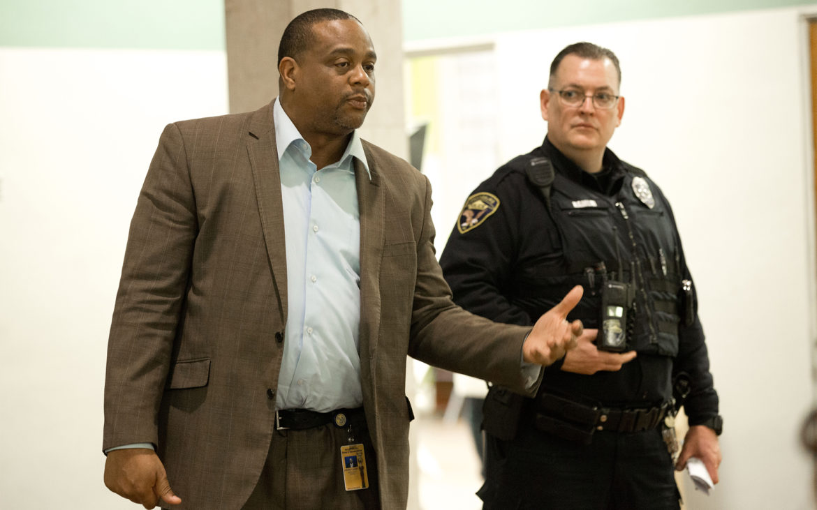 Rep. Ed Gainey and Wilkinsburg police officer Donald Hamlin fear arming teachers will cause confusion during a school crisis. Both oppose legislation to allow teachers to carry firearms. (Photo by Heather Mull/PublicSource)