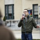 Calvin Pollak speaks at a rally at Carnegie Mellon University on April 6, 2018. (Photo by Ryan Loew/PublicSource)