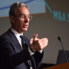 Don Anderson, the chief sustainability officer at Blackstone, told a crowd during Carnegie Mellon's Energy Week to avoid using environmental words and instead use a business vocabulary when convincing companies to improve their energy efficiency. (Photo courtesy of Carnegie Mellon University/April 4, 2018)