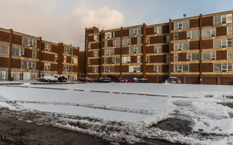 The Penn Plaza apartment complex in East Liberty before it was demolished in 2017. (Photo by Maranie Rae Staab/PublicSource)