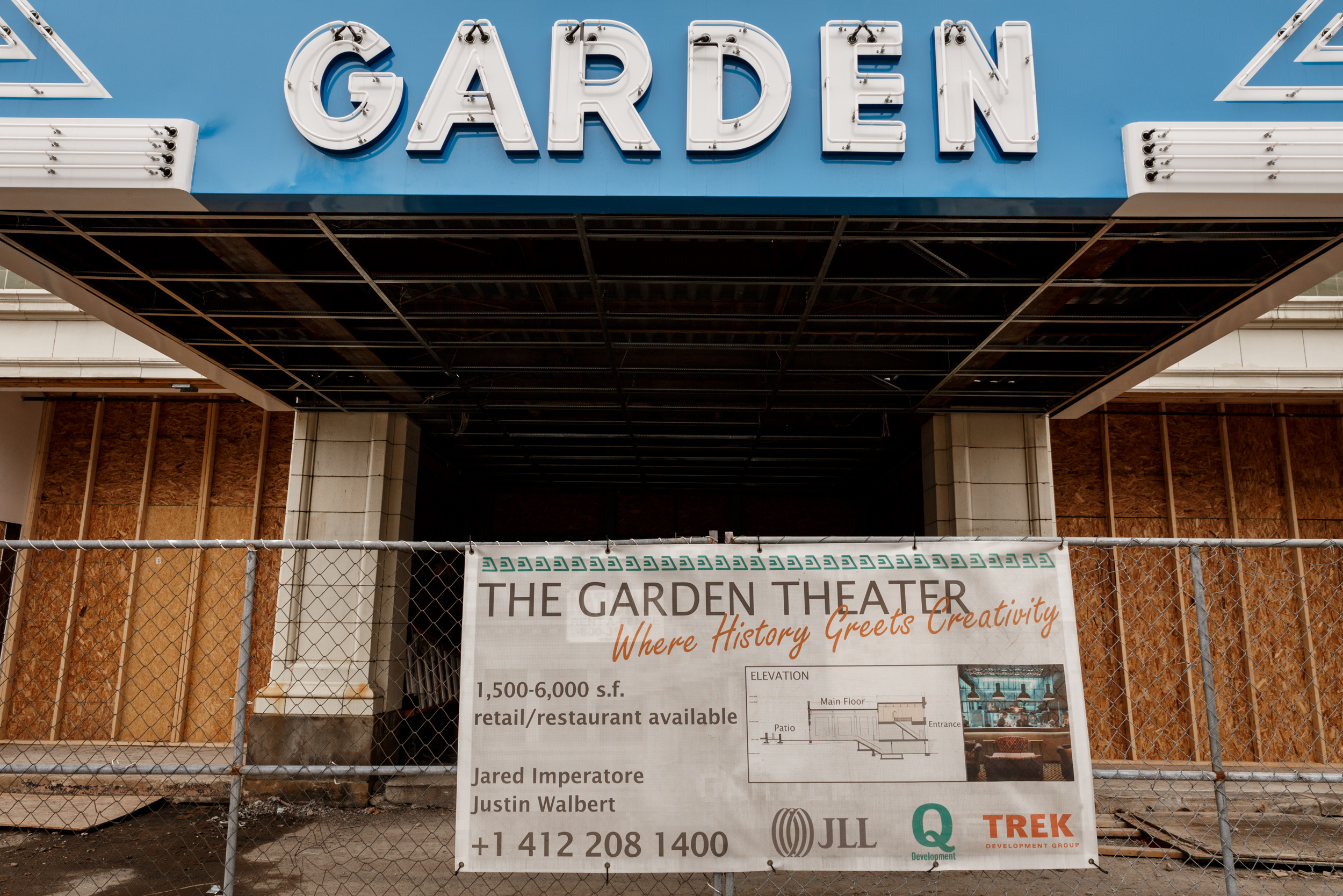 The Garden Theater building has a lengthy history, once serving as a traditional movie theater before becoming an X-rated theater. Today, the theater is undergoing a historical redevelopment of its own. (Photo by Maranie Rae Staab/PublicSource)