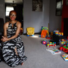 Delmesha Richards, pictured in the living room of her home, writes about the conversations she will need to have with her black sons about their skin color and how it may affect their daily lives. (Photo by Maranie R. Staab/PublicSource)