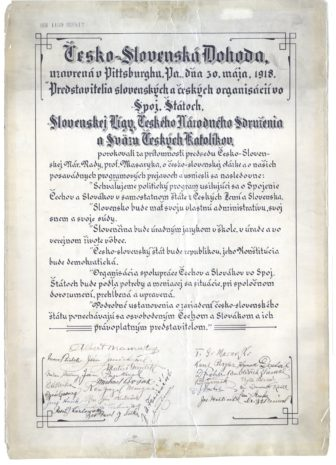 The Pittsburgh Agreement, a pact that led to the birth of the nation of Czechoslovakia, was signed 100 years ago. (Photo courtesy of the Heinz History Center)