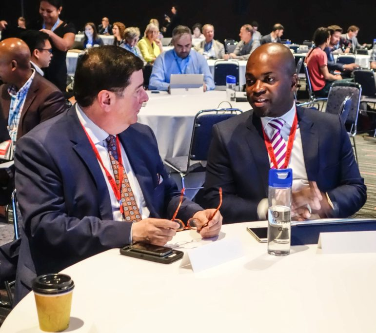 "Mayor Bill Peduto spoke with Mayor Solly Msimanga from Tshwane, South Africa, before panels on ""innovative solutions"" and ""collective local action"" at the ICLEI World Congress in Montreal on June 20, 2018."