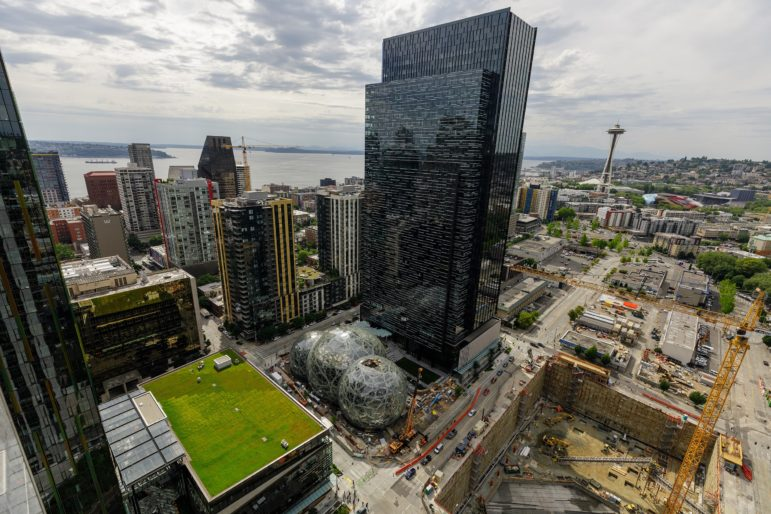 Amazon's campus in Seattle, Washington, in both the downtown and South Lake Union neighborhoods. Photographed from the roof of Amazon's Port 99 building. (Photo by Jordan Stead, courtesy of Amazon)