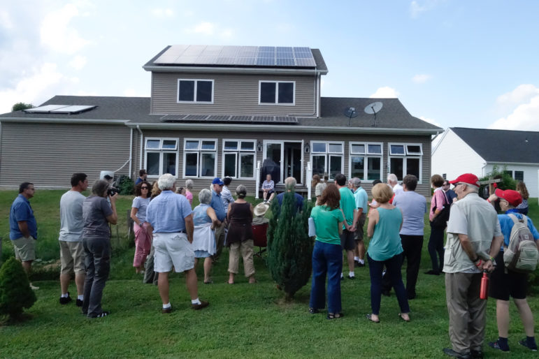 A Monaca home covered with enough solar panels to provide 100 percent of its energy. (Oliver Morrison/PublicSource)