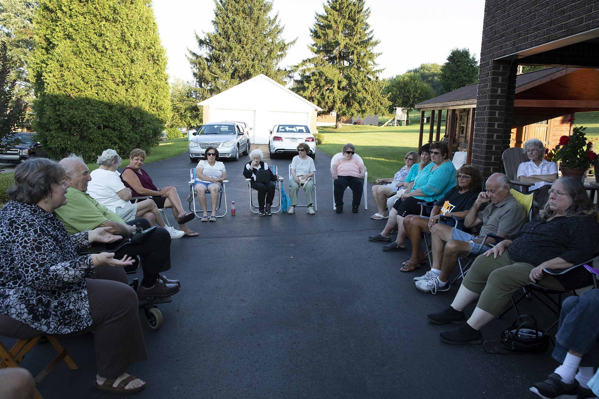 A meeting between plaintiffs at a house in Monongahela, Pa. on August 9, 2018. (Photo by Kat Procyk/PublicSource)