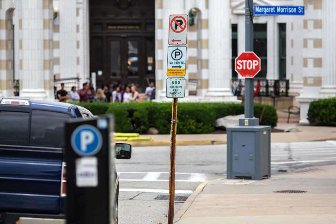A premium pay parking area at the corner on Tech Drive and Margaret Morrison Street on the campus of Carnegie Mellon University in Oakland. (Photo by John Altdorfer/PublicSource)
