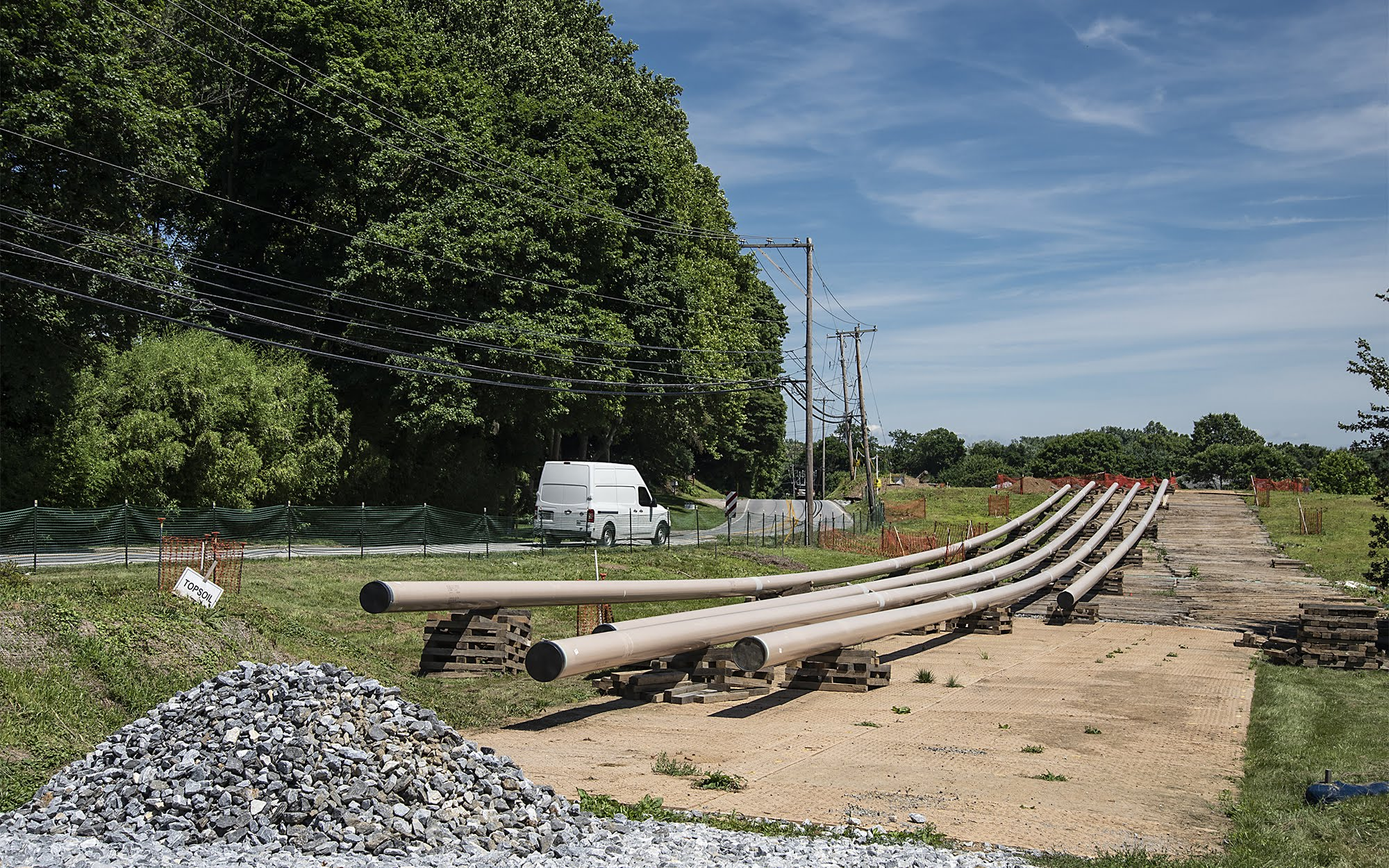 Pipes are laying ready in Chester County, Pa. to be put in the ground as part of the Mariner East 2 pipeline. (Photo by Teake Zuidema/PublicSource)