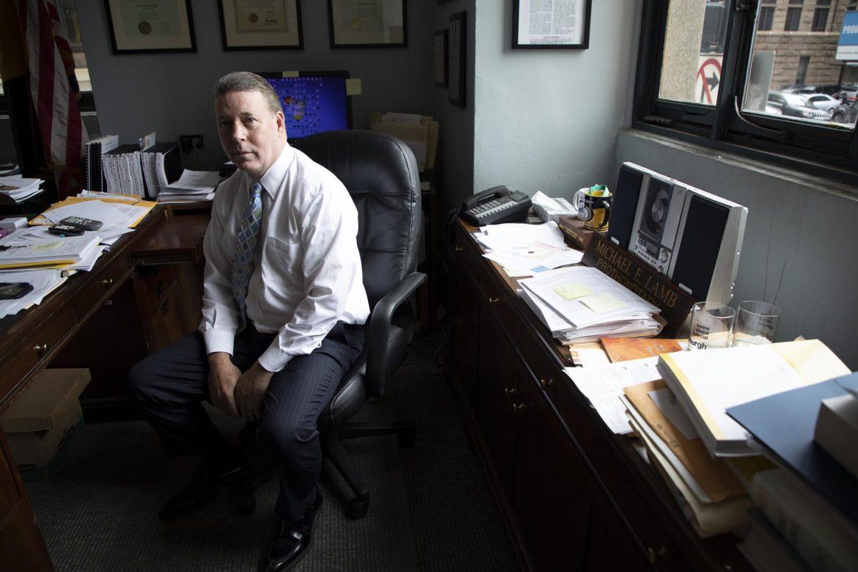 Pittsburgh Controller Michael Lamb sits at his desk