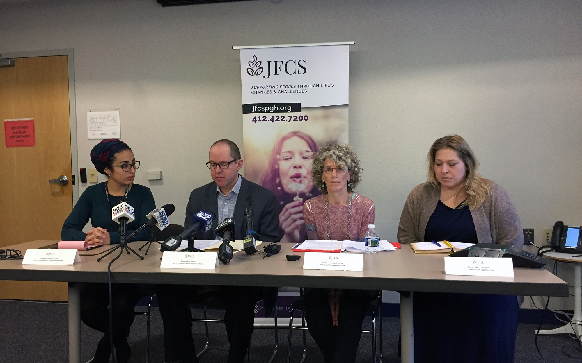 (From left) Jewish Family and Community Services of Pittsburgh staff members: Rebecca Remson, director of development and communications; Jordan Golin, president and CEO; Leslie Aizenman, director of refugee and immigrant services; and Jamie Englert, director of immigration legal services.